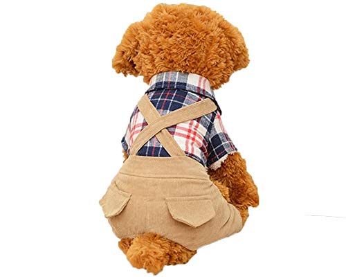 WEIJ Huisdier Kleding Huisdier benodigdheden Connectie Jumpsuit Leuke Knappe Mode T-Shirt Huisdier Hond Kat Kleding Lente Binnen Grid Objecten Blouse Op Collocation, M, Coffee color