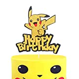 LILIPARTY Jumping Pikachu Happy Birthday Cake Topper Cute Pokemon Inspired Trainers Themed Party Decoration, Glitter Kid Birthday Party Supplies