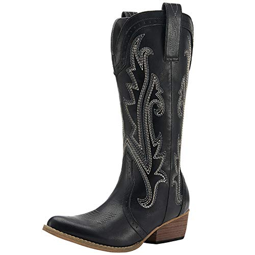 HISEA Cowboy Boots Women Western Boots Cowgirl Boots Ladies Pointy Toe Fashion Boots