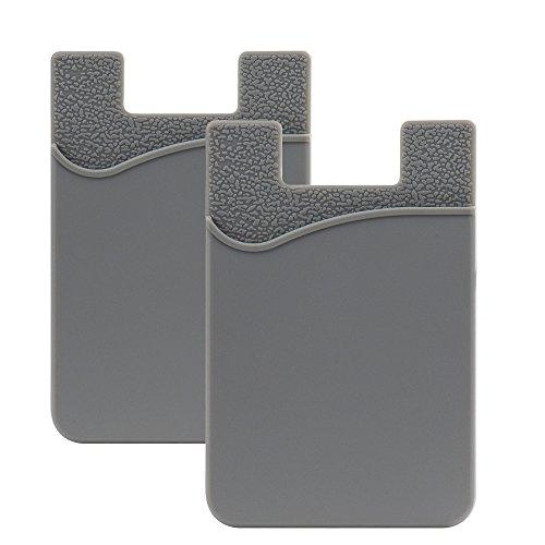SHANSHUI 2 Piezas Tarjetero Adhesivo Bolsillo para Tarjetas,para Todo Tipo de Móviles con Cinta Adhesiva de,Cartera y Soporte para Auriculares con Función de portadocumentos(Gris)