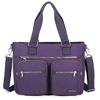 La Packmore Water Repellent Nylon Shoulder Bag Handbag Laptop Bag Teacher Nurse Tote Briefcase Clinical Bag  14 Inch Lavender