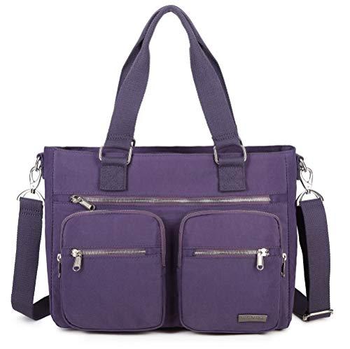 Crest Design Nylon Laptop Shoulder Bag Handbag Teacher Nurse Tote Organizer Travel Work Bag Purse (Lavender)
