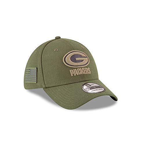 New Era Green Bay Packers 39thirty Stretch Cap On Field 2018 Salute to Service Green - S-M