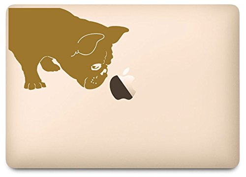 Gold French Bulldog Sniff Decal for 12' Macbook