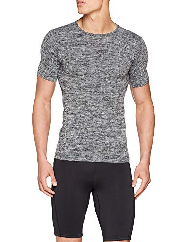 Sundried Mens Muscle Fit Compression T-Shirt Nahtlose Sport Gym Kleidung (Grau, L-XL)
