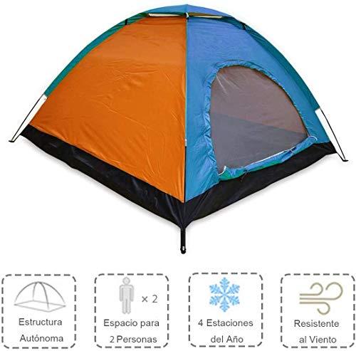 ALLPER Tienda de campaña de fácil Montaje, Polyester y Varillas de Acero Resistente. 2 Personas, Color: Naranja Y Azul. Medidas: 200 x 130 x 105 cm. Impermeable.