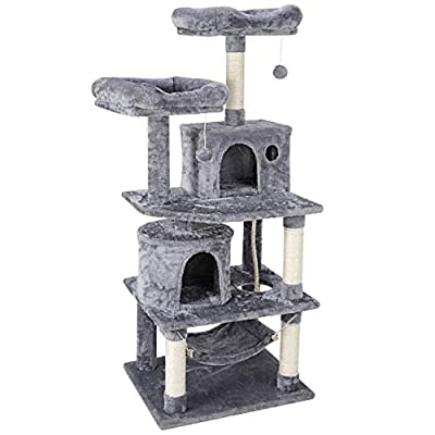 Nova Microdermabrasion 57.1 Inches Multi-Level Cat Tree Tower with Scratching Posts Perch Hammock Pet Furniture Kitten Activity Tower Kitty Play House
