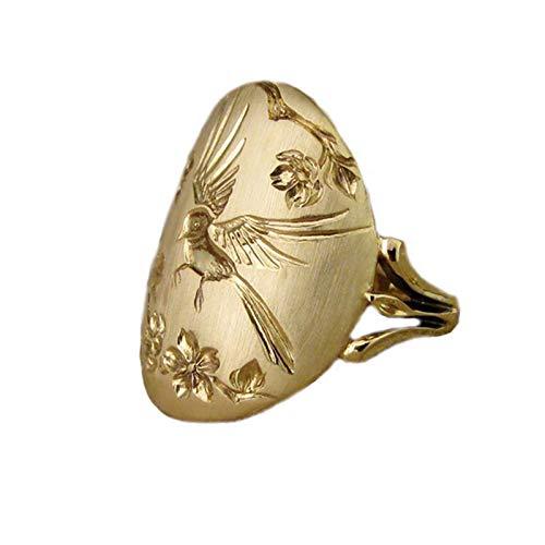 Mode Frauen Apfel Und Vogel Konkave Gravur Vintage Stempel Stil Mittelalterlichen Ring
