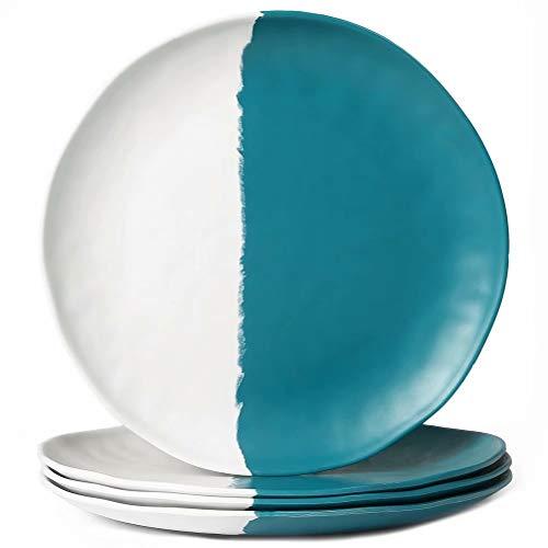 Melamine Plates Set, 4pcs 10 3/4 inch Dinner Dishes Set, Half Green and Half White Color, Dishwasher Safe
