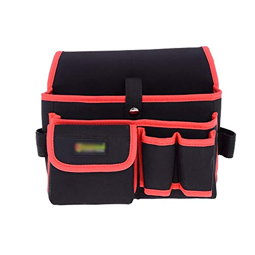 Nvshiyk Multi Pocket Tool Organizer Multifunctional Oxford Cloth Tool Storage Bag With 2 Tool Pockets And 3 Pouch for Electricians (Color : Red, Size : 26x17x16cm)