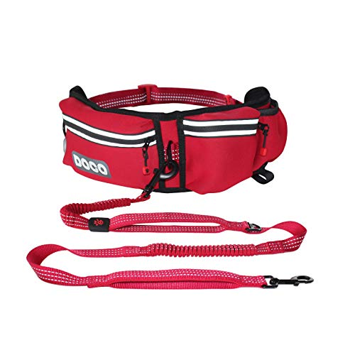 DOCO Hands Free Dog Leash for Running Walking Jogging, Training, Hiking, Retractable Bungee Dog Waist Leash for Medium-Large Dogs. Adjustable Waist Belt, Reflective Stitches, Dual Handle