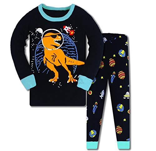 DAWILS Pijama para Niños de Dinosaurio Pijama Dos Piezas Manga Larga Niño Dino Ropa de Algodón Traje Dos Set 2-8 Años