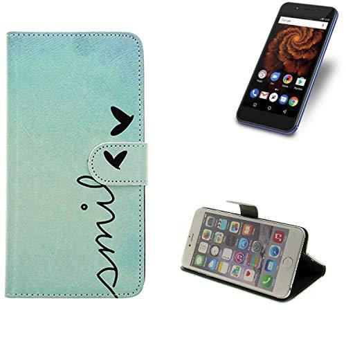 K-S-Trade® Schutzhülle Für Allview X4 Soul Mini S Hülle Wallet Case Flip Cover Tasche Bookstyle Etui Handyhülle ''Smile'' Türkis Standfunktion Kameraschutz (1Stk)