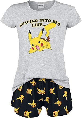 Pokémon Pikachu - Jumping Into Bed Like Frauen Schlafanzug weiß/gelb/schwarz XXL
