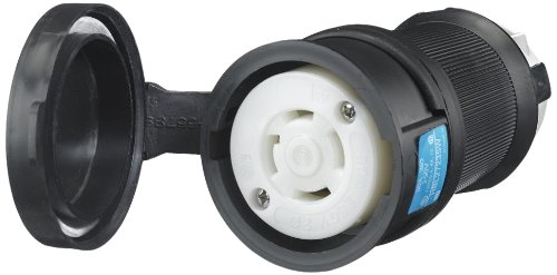 Locking Devices, Twist-Lock, Watertight Safety Shroud, Female Connector Body, 30A 3-Phase Delta 250V AC, 3-Pole 4-Wire Grounding, L15-30R, Screw Terminal, Black and White