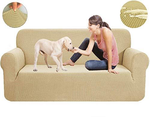 New-wish Sofa Überwürfe Wasserdicht Jacquard Sofabezug Elastische Stretch Spandex Couchbezug Sofahusse Sofa Abdeckung in Verschiedene Größe und Farbe Gelb (57-67 Zoll)