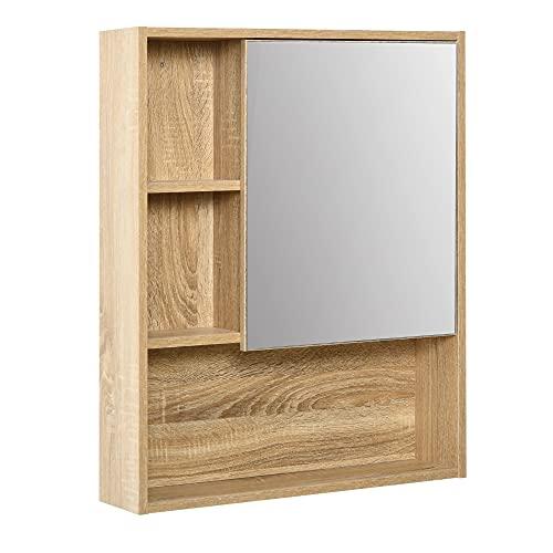 kleankin Armadietto a Specchio con scaffale Regolabile, Montaggio a Muro, Color Rovere, 60 x 15 x 76cm