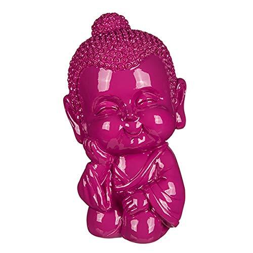 Spardose Baby Buddha, 3 Farben zur Auswahl, aus Polyresin mit Kunststoffverschluss, kleine Sparbüchse als Dekofigur, Sparschwein-Ersatz oder Geldgeschenk-Verpackung, Maße: 13,5 x 8 x 8 cm, Farbe:pink