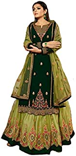 Georgette Fabric Heavy Embroidered And Diamond work Lehenga Suit