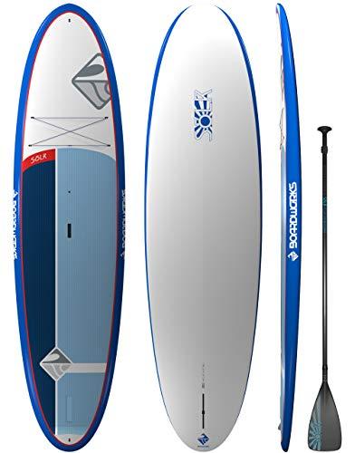"Boardworks Sōlr | Recreational Stand Up Paddleboard | X-Shot Epoxy Hardboard with Paddle | 10' 6"",Blue/White/Grey"