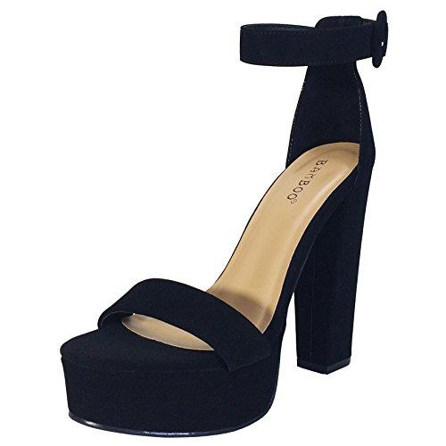 BAMBOO Women's Chunky Heel Platform Sandal with Ankle Strap, Black Nubuck PU, 6.0 B US