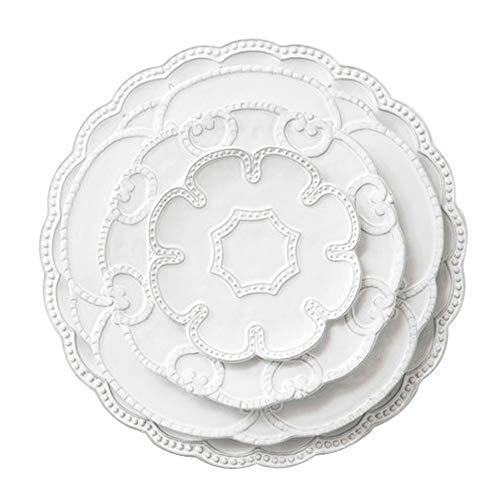 PN-Braes Set de Platos de Cena 4 Piezas de Porcelana de Hueso del vajilla Hotel Restaurante Steak hogar Platos Platos de cerámica Blanca Platos de Loza (Color : White, Size : One Size)