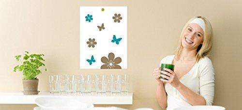 wodtke-werbetechnik magneetbord voor kookchips receptenhouder voor Thermomix bloemen bruin blauw