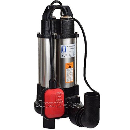 Agora-Tec® at- Baupumpe-C 750W (mit Schneidwerk) Tauchpumpe für Schmutzwasser, Abwasser, für Fäkalien und organische Feststoffe mit Schwimmerschalter und max: 0,75 bar und max: 14000l/h