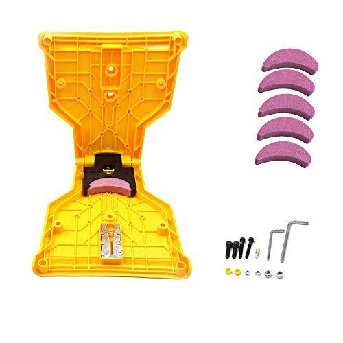 Afilador de motosierra, afilador de dientes de sierra de cadena portátil, herramientas de afilado, con 5 piedras de afilado, apto para uno, dos o más agujeros no porosos Barra de sierra de cadena
