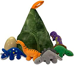 Five Cute 8Inch/20cm (appr) Soft Plush Dinosaurs In 14Inch/36cm Plush Volcano Mountain House. And Gigantic Surprise Dinosaur Egg 4Inch/10CM Is A Great Addition To Grow Up The Family (style and colour of the egg may vary). Just Put it Into Water And S...