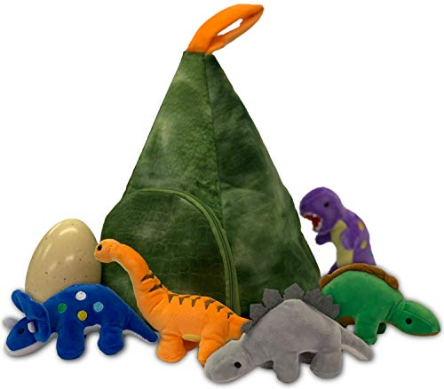 Soft Toy Dinosaurs Playset In Volcano Mountain House 5 Plush Dinos Set And...