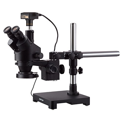 AmScope 3.5X-180X Black Trinocular Stereo Zoom Microscope on Single Arm Boom Stand + 144 LED Compact Ring-Light with 18MP USB3.0 Camera