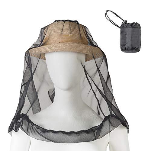 JT-DAYアウトドア 蚊よけ 虫よけ 防虫ネット 虫対策 ヘッドネット 帽子ネット 頭カバー 蚊帳 コンパクト ミニ 携帯 遠足 農作業 釣り 男女兼用 60cm*60cm (Black)