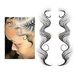 7 Styles Baby Hair Tattoo Aufkleber, Baby Hair Edge Tattoo Kanten lockiges Haar, Erstellen der ernsthaft echten Babyhaare für Sie Haaransatz Aufkleber, wasserdicht Langlebig