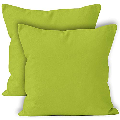 Encasa Homes Cushion Covers 2pc set (40 x 40 cm) - Lime Green - Solid Dyed Cotton Canvas, Decorative Large Square Colourful Washable Throw Pillow Cases for Living Room, Sofa, Bedroom, Home & Hotel