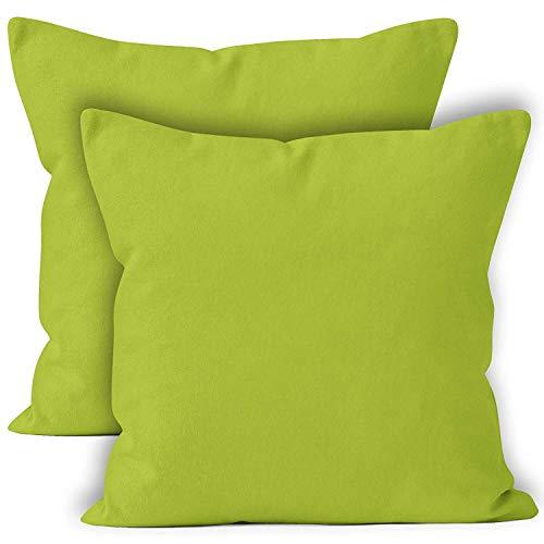 Encasa Homes Fundas de Cojines 2 Piezas (50 x 50 cm) - Verde Lima - Lona de algodón teñida Forma sólida, Decorativa, Grande y Colorida, Lavable Funda Almohada para Sala de Estar, Dormitorio