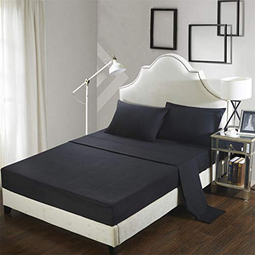 GTWOZNB Bed Sheets, Ultra Soft Silky Smooth and Wrinkle-Resistant Pure color sanded bed sheet-1-black_198*203cm