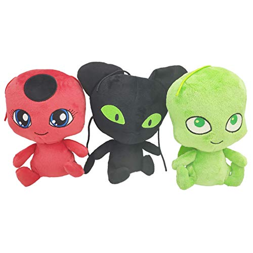 3 piezas de 15 cm Milagroso: Tales of Ladybug & Cat Noir Ladybug Plagg and Tikki Carapace colgante de peluche suave muñeca de peluche regalo
