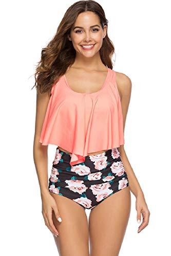 UMIPUBO Conjuntos de Bikinis para Mujer Trajes de baño de Cintura Alta Multicolor con Volantes Ropa de Playa Estampada de Dos Piezas Traje de baño de Talla Grande Adecuado para Viajes