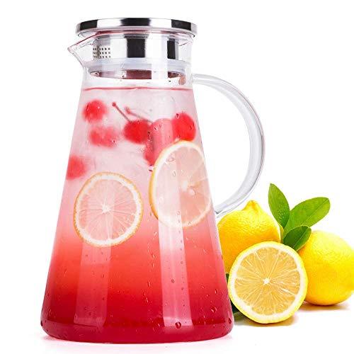 Wisolt 2 Liter Karaffe Glas Krug Bleifrei Borosilikatglas Wasserkocher mit Kristallgriff und Edelstahl Deckel für Milch, Rotwein, Kaltes Wasser, Fruchtsaft, heißen Kaffee, EIS Getränke