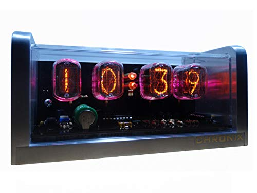 CHRONIX Nixie Röhren Uhr mit 4 x IN-12 Röhrenanzeigen & Alarm & Pink Hintergrundbeleuchtung & Aluminiumgehäuse