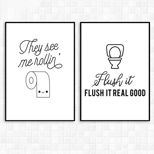 IGZAKER Grappige Citaat Toiletborstel Bad Muur Canvas Schilderij Nordic Posters En Prints Muur Foto 'S Voor Badkamer Decor-50x70cmx2pcs geen frame