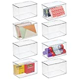 mDesign Plastic Stackable Box Home, Office Supplies Storage Organizer Box with Attached Li...