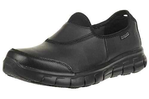 Skechers Women Sure Track Work Shoes, Black (Black Leather Bbk), 6 UK (39 EU)