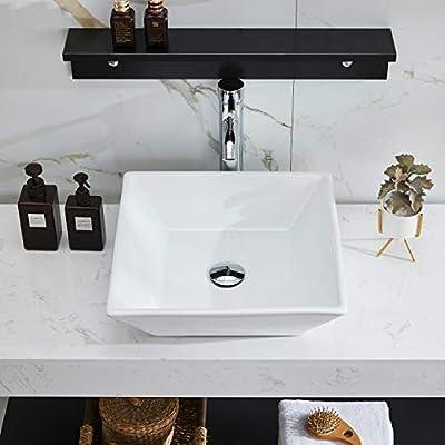 PetusHouse Bathroom Vessel Sink and Pop Up Drain Combo, Square Above Counter White Porcelain Ceramic Bathroom Vessel Vanity Sink Washing Art Basin