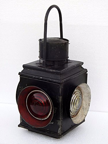 Triveni Art & Crafts Railroad Lantern Vintage Adlake Style Antique Switch 4 Way Signal Collectible Oil Lamp Indian Railway