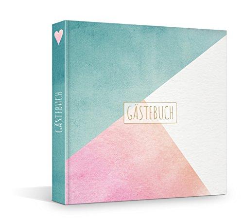 Hardcover Gästebuch mit vorgegebenen Fragen und Blanko-Seiten, 21 x 21 cm, geeignet für viele...