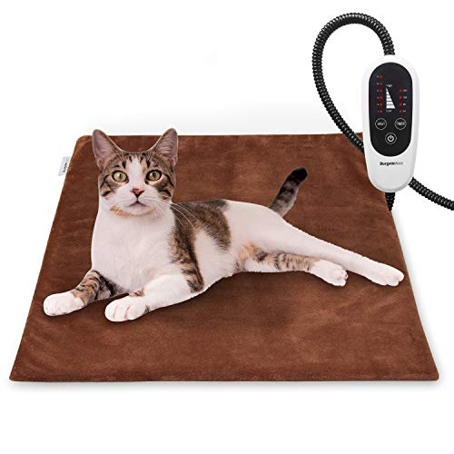BurgeonNest Pet Heating Pad for Dogs Cats with Timer, 28' x 16', 18' x 16' Upgraded Electric Heated Dog Cat Pad Temperature Adjustable Pet Bed Warmer Blanket Mat Auto Power-Off
