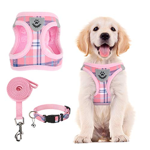 PUPTECK Adjustable Pet Harness Collar and Leash Set for Small Dogs Puppy and Cats Outdoor Training and Running with Classic Beige Plaid Pattern