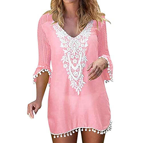 Cover Up Playa Mujer 2019 Nuevo SHOBDW Pareos Bikini Cover Up Mujer Vestido Verano Cuello en V Color Sólido Borla Tops Blusa Suelto Tallas Grandes S-XXL(Rosado,M)
